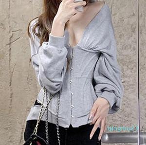 fashion-Women Autumn Hoodie 2019 Fashion Slim Grey Corset Casual Zip Buckle Blouse Pullover Gym Sport Jacket Sport Coats