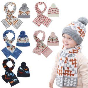 아이 니트 모자 어린이 스카프 아기 겨울 따뜻한 정장 아기 크리스마스 선물 Crtoon 자카드 모자와 스카프 XD23997