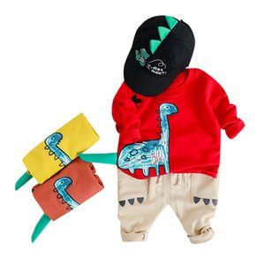 Free Shipping Fashion Lovely Baby 2PCS Toddler Kids Baby Boys Sweatshirt CartoonTops Jeans Pants Trousers Outfits Set Z0130