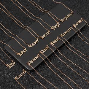 Lettera zodiacale Vintage collane per le donne personalizzata 12 costellazione segno ciondolo catene in oro gioielli in regalo Choker di moda