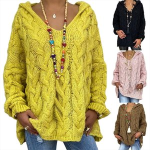 Women Autumn Solid Color Long Sleeve Braided Hooded Pullover Knitted Sweater Braided Design with Hood Loose Style Casual Sweater