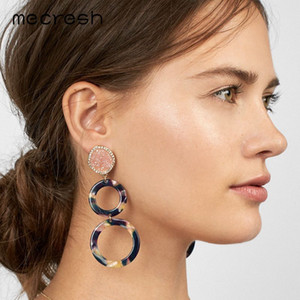 Mecresh Red Druzy Stone Acrylic Circle Long Drop Earrings for Women Statement Bohemian Big Earrings 2020 Fashion Jewelry MEH1335