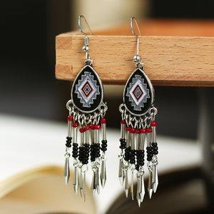 Bohemian Bead Tassels Earrings 2020 New Fashion Enamel Water Drop Shape Dangle Earrings Vintage Jewelry