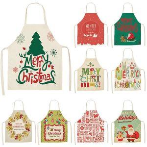 Kadın Pinafore Pamuk Keten Önlükler 53 * 65cm Yetişkin Bibs Mutfak Pişirme Pişirme Aksesuarları için 1pc Noeller Önlük