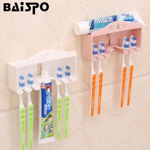 BAISPO creativo parete senza chiodo spazzolino titolare bagno insieme della cremagliera di immagazzinaggio multifunzionale del dentifricio spazzolino da denti