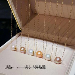 ptZ6g 18K oro Passepartout trasferimento tallone catena clavicola perla d'acqua dolce naturale pendente catena del collo della collana ciondolo collana