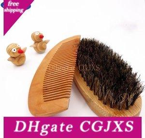 Spazzola -Comb all'ingrosso Set barba pennello per gli uomini di bambù Con il 100% Cinghiale setole Massaggio Viso che fa miracoli per pettinare barbe e baffi