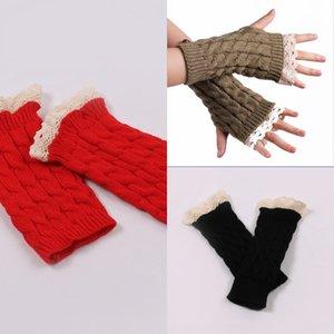 Yiwu düz güzel dantel uzatılmış bileklik kış Sıcak bilek kayışı Dantel kadın sıcak yarım parmak eldiven örme bilekliği