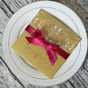 Elegant Gold Shimmer Lace Wedding Invitations with Burgundy Ribbon Personalzied Print Laser Cut Quinceanera Invites Greeting Cards