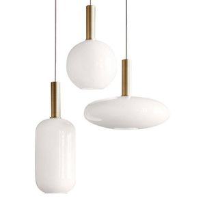 La lampada rotonda di Latte pendente di vetro ovale Cilindro Hotel Restaurant Lounge Studio Ufficio Camera metallo creativo A sospensione
