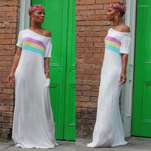 Giyim Lüks Slash Boyun Çizgili Kasetli Günlük Elbiseler Maxi Elbiseler Kadın Tasarımcı Elbise Yaz Moda Womens