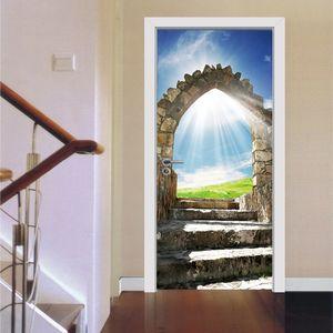 Sunny cielo azul puerta pegatinas Vinyl3D escaleras de piedra Europea la decoración del hogar de estilo mural autoadhesiva puerta de la decoración del papel pintado