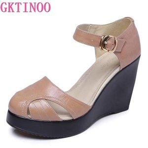 GKTINOO сандалии Женские ето Мода воловьей Удобные туфли на высоком каблуке клинья платформы обувь из натуральной кожи