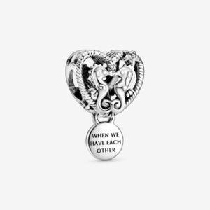 New autentico 925 fascini Sterling Silver Openwork Cavallucci marini del cuore ciondolano monili del pendente misura branelli Marca fascino bracciale fai da te
