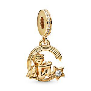 ALE argent 925 Angel et Shooting Star Dangle Charm Perles Pendentif Fit Pandora Collier Bracelet Or Cirage pour la fabrication de bijoux bricolage