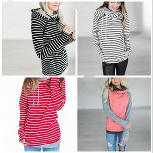 Fashion Girl Stripe T-shirt Patchwork Hooded Pocket Tops Lady Spring Winter Long Sleeves Sweatshirts Candy Color Tops WY217Q BMBz#