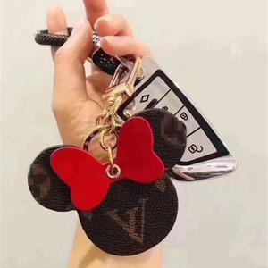 Las mujeres forman Llavero grande del oído Keyring de la cadena dominante de la PU linda sostenedor del bolso Charm Boutique llave del coche del diseño del ratón clave accesorios anillo de 6 colores 2020