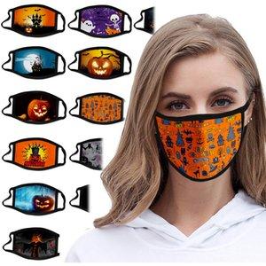 Navidad mascarillas diseñador de moda mascarilla adulto Halloween máscara a prueba de polvo de poliéster imprimir máscara negro lavable mascarilla boca