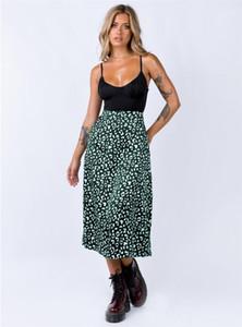 Skirt Sexy High Waist Zipper Medium Long Skirt 2020 Womens Designer Skirts Leopard Chiffon Printed Split