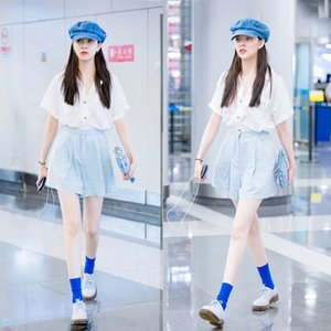 mesmo de duas peças terno de xCiM7 Canção Yanyan de mulheres brancas senso de design nicho de verão de manga curta + wide-perna larga calças perna shirt shirt calças