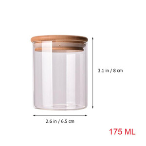 1pc 175ml Glass Jar Sealed Canister Storage Container For Loose Coffee Bean Sugar Salt 6.5x8CM With Bamboo Lid