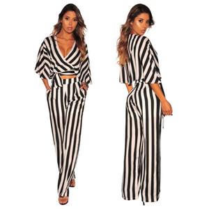 Modern Şık Çizgili Casual 2 Adet Set Kadınlar V Yaka Yarım Batwing Sleeve Lace Up Tees Ve Cepler Uzun Geniş Bacak Pantolon O6096