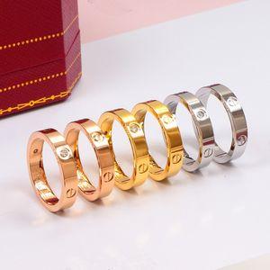 Gioielli di moda trasversale vite d'acciaio di titanio di Zircon Donne Relazione di coppia fidanzamento in oro rosa femminile di cristallo l'anello di barretta di nozze
