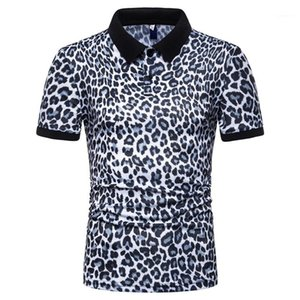 Поло тройники коротким рукавом Топы 2020 Мужчины Leopard Polo Лето Дизайнер Мужской Повседневная мода