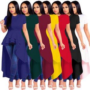 Fashion Womens Evening Dress Plus Size Irregular Ilounces Skirt Hem Dress High Waist Short Sleeve Plain Dresses