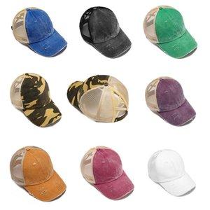 Ponytail Casquettes de base-ball Criss Cross Messy Bun Chapeaux Coton Trucker Caps été Snapback Hat Sport Hip Hop Party Hats Outdoor Sun Cap OOA9013