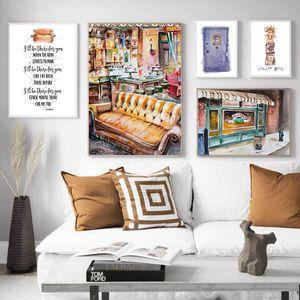 Sitcom Центральная кофейня Couch Картина Стендовые Друзья Tv Show Украшение для печати Смешные цитаты Wall Art Декоративные изображения Home Decor