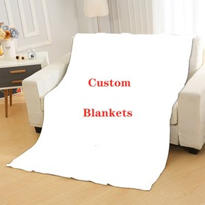 Custom Blankets Colorful Digital Full Printing Flannel Coral Fleece Child Adult Blanket Air Conditioning Quilt Custom Logo Any Size