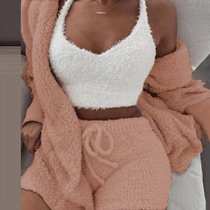 Women 3 Piece Set Fleece Plush Hooded Cardigan Casual Long Sleeve Coat Autumn Winter Shorts Set Suit Sleepwear Night Outfits