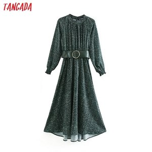 Tangada fashion women green dots print dress with belt Stand Collar Long Sleeve Ladies Loose midi Dress Vestidos XN16 0921
