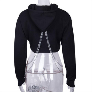 Sexy Women Girl Casual Top Pullover Hooded Sweatshirt Jumper Hoodie Coat Black Plus Size S 2XL Drop Shipping
