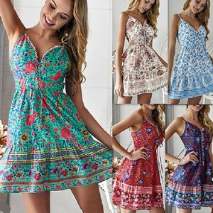 Vacation Women Floral Printed Strapless Boho Dress Evening Gown Beach fress Suspender skirt Summer Sundress Casual Dresses bra Sexy Clubwear
