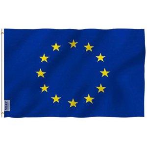 Polyester Grande bannière Hanging Union européenne Qualité Eu libre Accueil Haut Drapeau X 150cm UEeuropéen Union Shiping 90 Décor volant LORJi