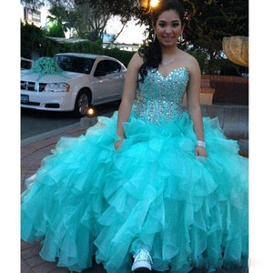 Brillant perlé robe de bal Quinceanera Robes Bleu ciel doux 16 Quinceanera Robes sexy chérie longue Volants Quinceanera