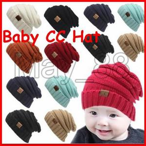 2020 Winter Kids Warm CC CC sombrero de punto de etiqueta niños niños Chunky estirables de punto Gorros bebé gorro de camionero Skully 13 colores
