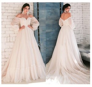 2021 LORIE Boho Ivory Wedding Dress A-Line Appliques Puff Sleeves Bride Dress White Lace Top Wedding Gown