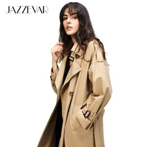 JAZZEVAR 2020 Autumn New Women's Casual trench coat oversize Double Breasted Vintage Washed Outwear Loose Clothing