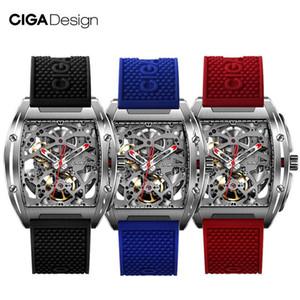 Rojo Azul Negro impermeable reloj CIGA Diseño CIGA reloj Serie Z reloj Barril Tipo de doble cara hueco esquelético automático de los hombres mecánicos