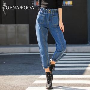 Genayooa Qualitäts-Jeans für Frauen Mom Jeans mit hohen Taille Jeans-Frau plus Größe 5XL Harem-Hosen-Hose Frau 2019 Korean CX200821