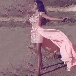 Новые 3D Цветы Высокая Низкая Мини Пром платья с длинными Юбка складками шифона Специальный Случай партии мантий vestidos де фиеста