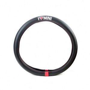 스티어링 휠 커버 자동차 스타일링 I LOVE MINI 탄소 섬유 가죽 PU를 들어 MINI COOPER R50 R52 R53 R55 R56 R57 R58 R59 R60 R61 R62 wg4Y 번호