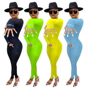 Kadınların onesies 2020 yeni sonbahar ve kış ince uzun kollu tulum nakış Sıkı jumpsuits tulum sıcak satış çizgili