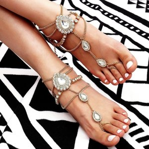 Accessories new casual footwear exaggerated Diamond-inlaid water drops flash diamond tassel beach anklet