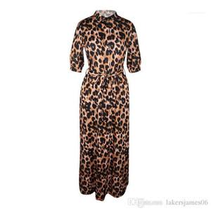 Boyun Yarım Kol Seksi Kadın Giyim Moda Stil Gündelik Giyim Kadın Tasarımcısı Elbise Leopar Desinger Maxi Elbiseler Sonbahar V