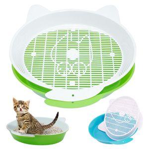 Cat Помет Box с лотком Мат Пластиковые Pet Cat Rabbit Pee туалеты для кошек просеивание Cat Помет Box Pee Pad лоток Pet Trainer Очистка