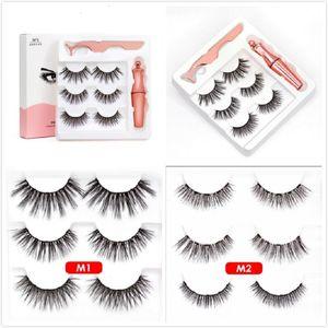 2020 Magnetic Líquido Eyeliner Magnetic pestanas falsas Tweezer Set 5 Magnet pestanas falsas cola Make Up Tools 3 pares de cílios 3in1 set